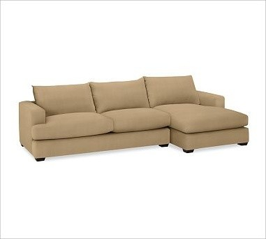 Hampton upholstered left arm 2 piece sofa with chaise for Bartlett caramel left corner chaise sectional