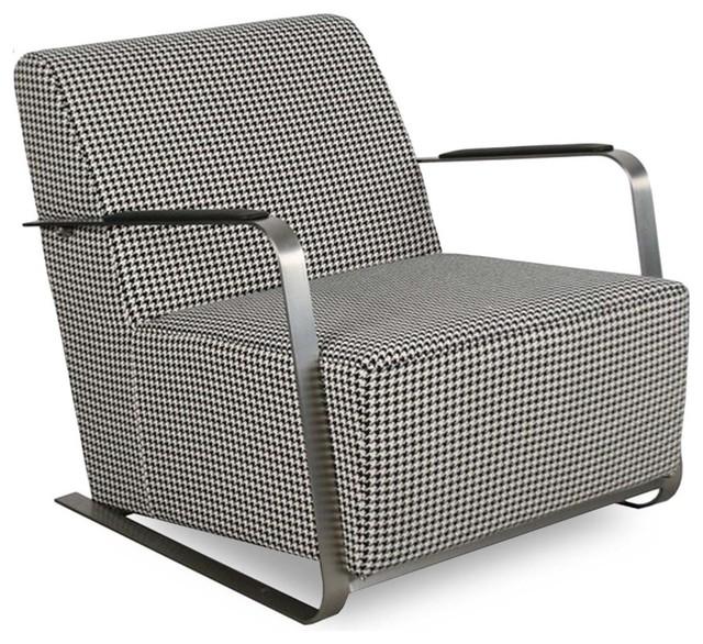 fauteuil lounge tissu inox adwin couleur pied de poule industriel fauteuil par. Black Bedroom Furniture Sets. Home Design Ideas