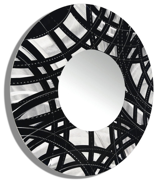contemporary framed large round wall mirror black silver modern wall mirror contemporary wall