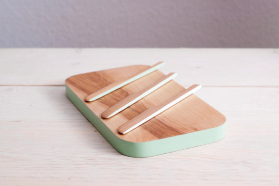 Cheese Board Set With Mint Ombre Accent By Silver Pine Woodworks Contempora
