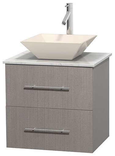 Centra 24 grey oak vanity carrera marble top bone for Marble top console sink