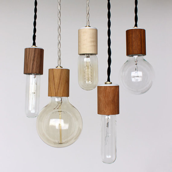 Wood veneered pendant light with bulb by onefortythree Modern pendant lighting