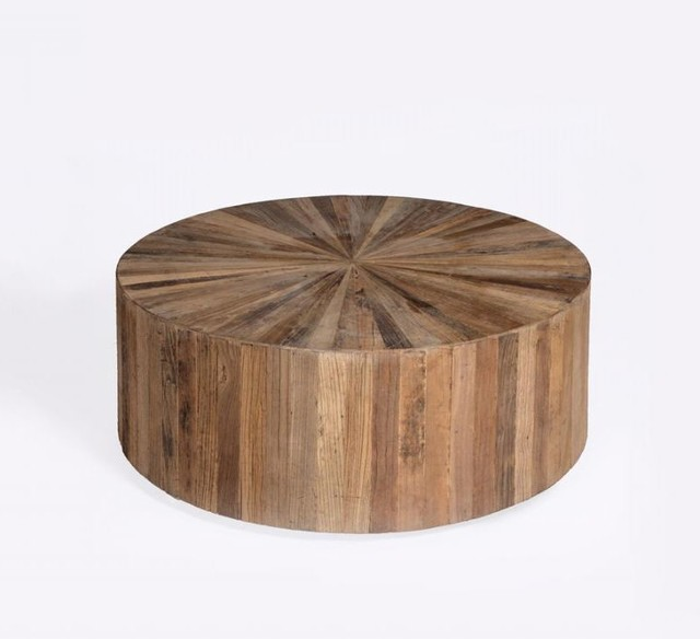 Round Wood Panel Coffee Table Beach Style Coffee