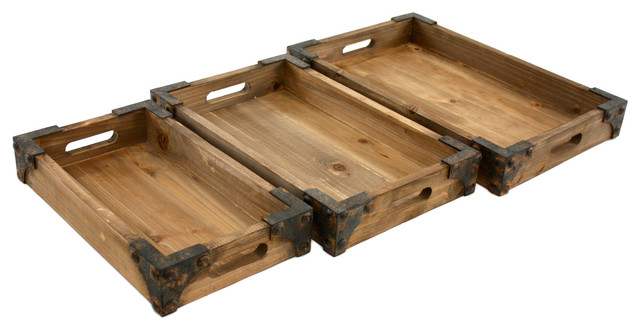 Brighton Wooden Trays, Set of 3 - Rustic - Serving Trays ...