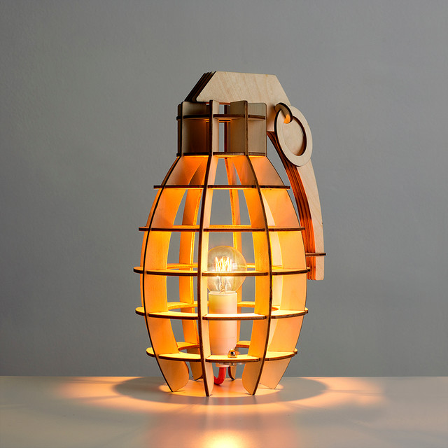 Decorative Military Style Wooden Table Lamp Contemporary