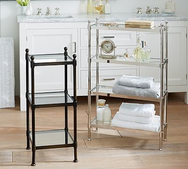 Metal Etagere Small Polished Nickel Finish Traditional