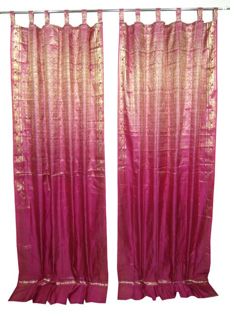 2 Sari Curtains Pink Golden Brocade Silk Sari Drapes Curtain Window Treatment Asian Curtains