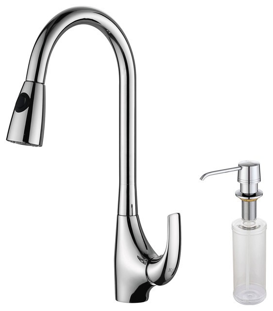 kraus single lever pull out kitchen faucet and soap. Black Bedroom Furniture Sets. Home Design Ideas