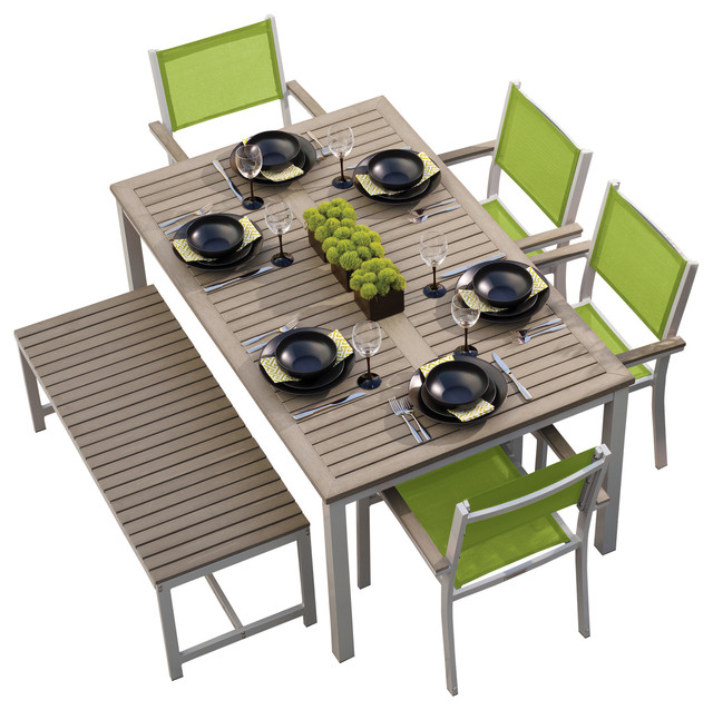 Travira 6 Piece Dining Set Vintage Tekwood And Go Green Sling Seats And Benc