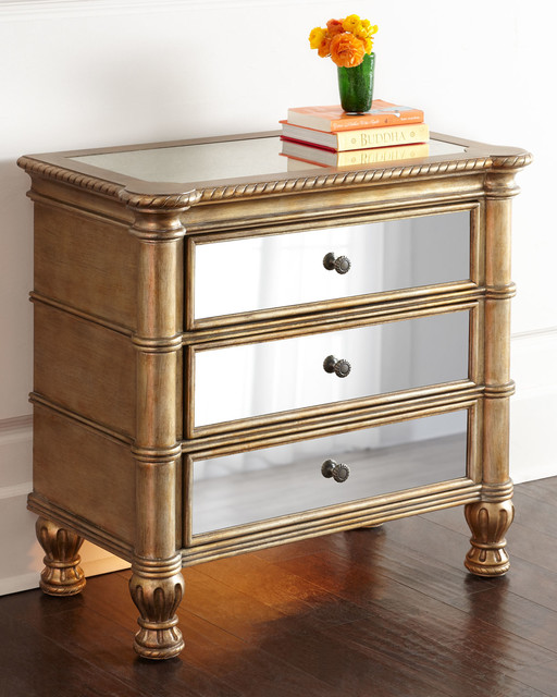 Caterina nightstand wood mirror contemporary for Mirror nightstand