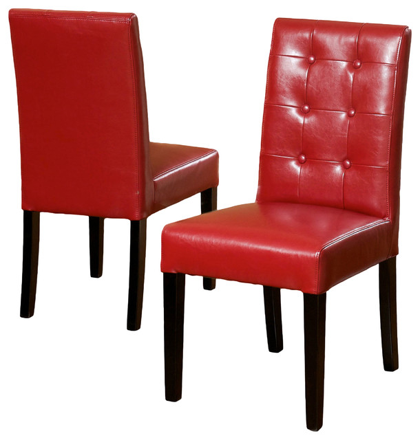 Gillian red leather dining chair set of 2 dining chairs for Red modern dining chairs