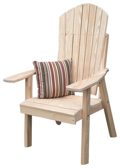 Pine upright adirondack chair redwood stain beach style - Adirondack style bedroom furniture ...