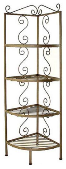 """Corner Bakers Rack With 4 - 12"""" Deep Shelves, Ivory - Traditional - Baker's Racks - by Pot Racks ..."""