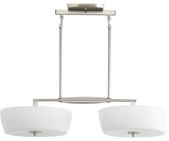 Four-Light Island K9 Crystal With Opal Etched Glass Shades