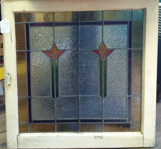 Lg Square Stained Glass Window From NJ