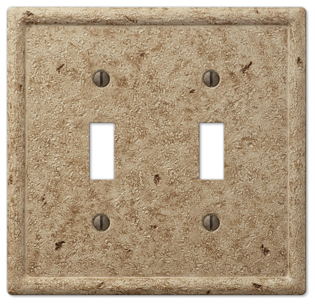 Faux Stone Resin 2-Toggle Wall Plate, Noce - Traditional ...