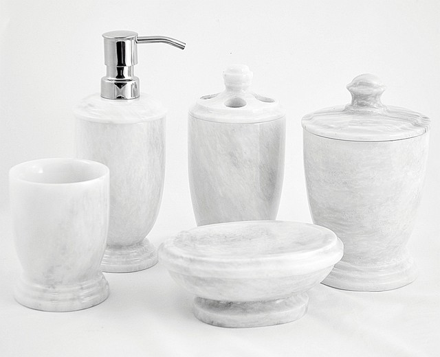 White Marble Bathroom Accessories Set - Traditional - Bathroom Accessory Sets - Dallas