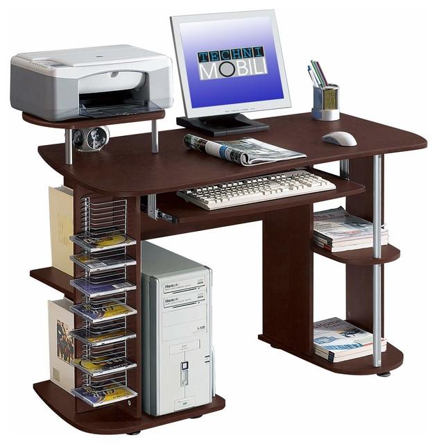 Techni Mobili Multifunction Computer Desk in Chocolate modern-desks