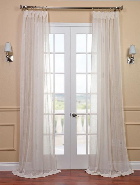 Open Weave Cream Linen Sheer Contemporary Curtains