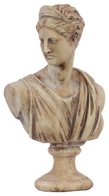 Cement artemis bust on pedestal distressed tan for Artemis decoration
