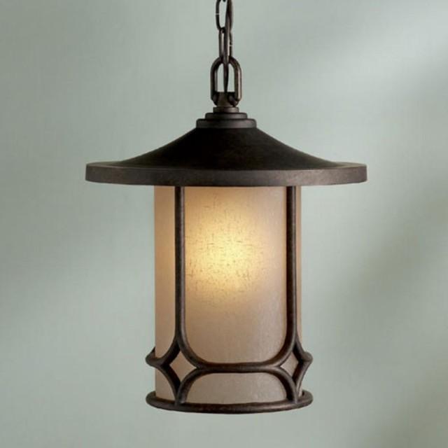Kichler Chicago Outdoor Pendant Light 13H In Aged Bronze 9827AGZ Conte