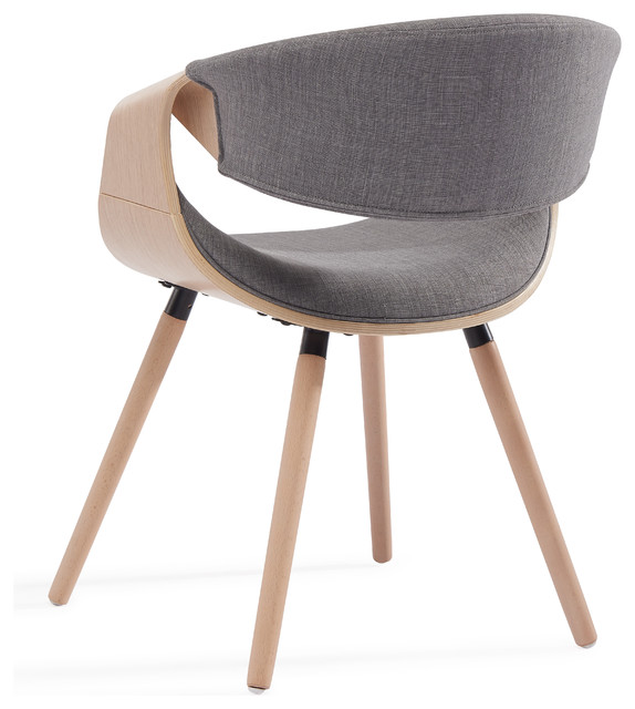 Mid Century Fabric And Bent Wood Accent Chair, Gray