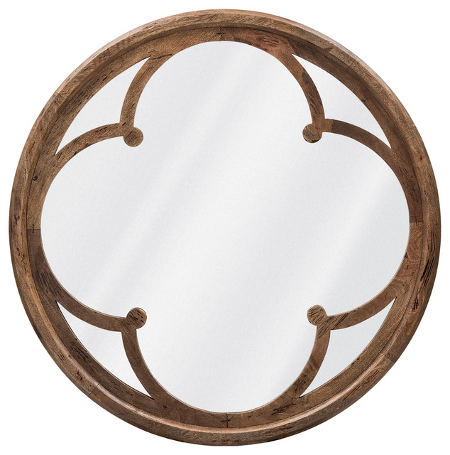 Neve Modern Brown Wood Round Large Mirror Transitional