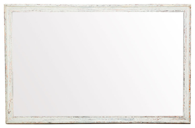 Raw vintage wood frame mirror white modern wall for White framed mirror