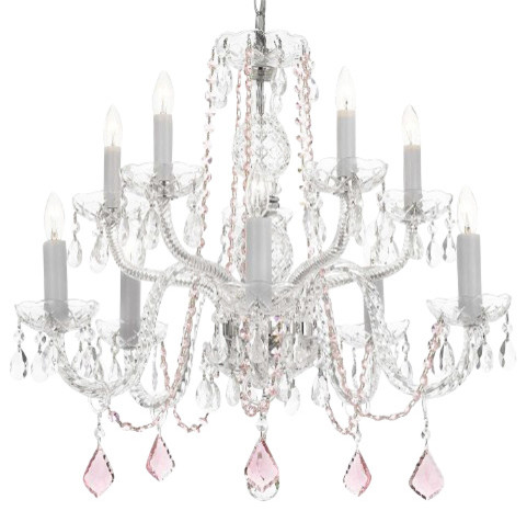 Crystal Chandelier With Pink Crystal Traditional