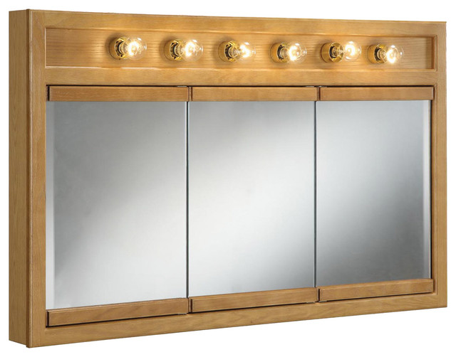 "Richland 48"" 6-Light Tri-view Medicine Cabinet Nutmeg Oak"