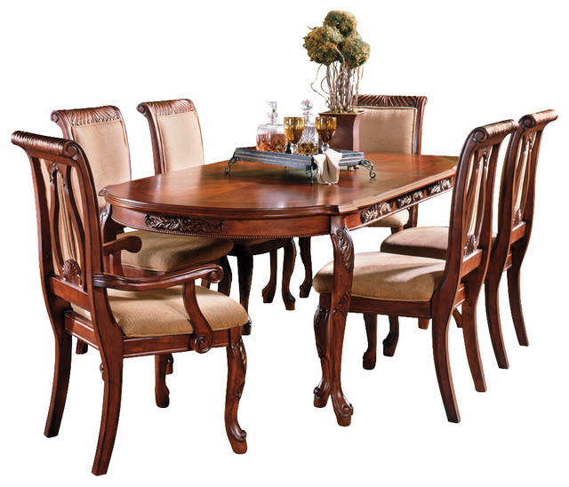 Cleopatra Ornate Traditional Cherry Formal Dining Room: Steve Silver Harmony 7-Piece Oval Dining Room Set In