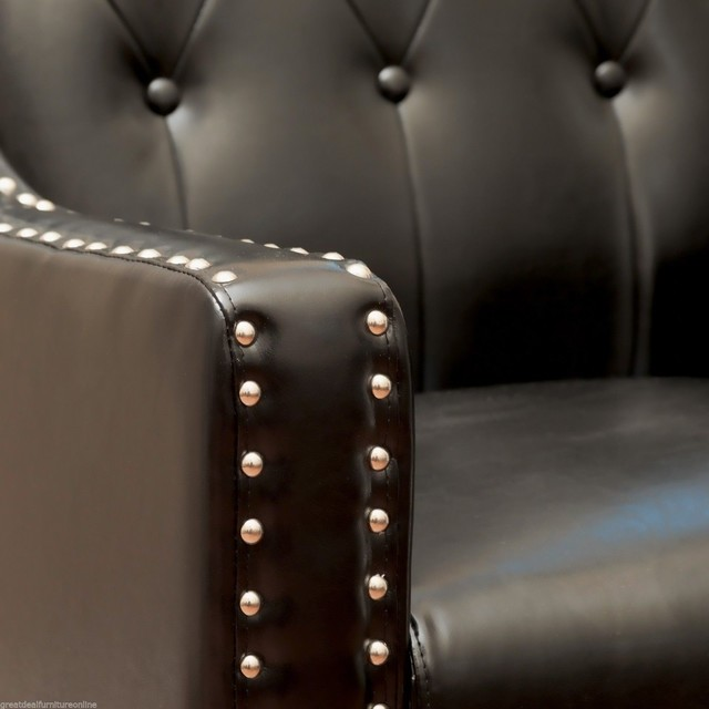 Coogee Black Leather ArmChair Modern Armchairs And Accent Chairs Sydney