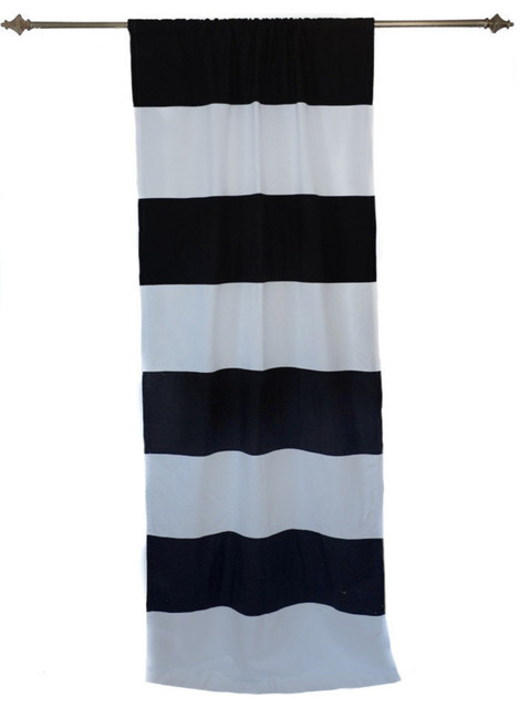 Organic Black And White Horizontal Stripe Curtain Panel Transitional Curtains By Anna