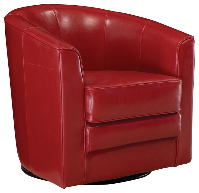 Conrad leather swivel accent chair contemporary for Modern swivel accent chair