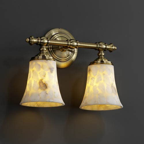 Alabster rocks tradition two light bath fixture for Traditional bathroom vanity lights