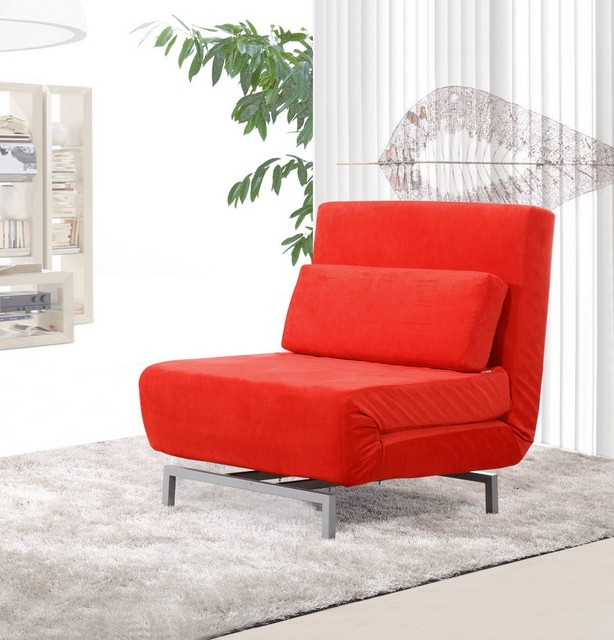 Romano convertible sofa chair red fabric modern sofas for Modern red fabric sectional sofa