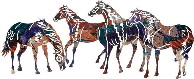 Painted Ponies Southwestern Metal Wall Art rustic-artwork