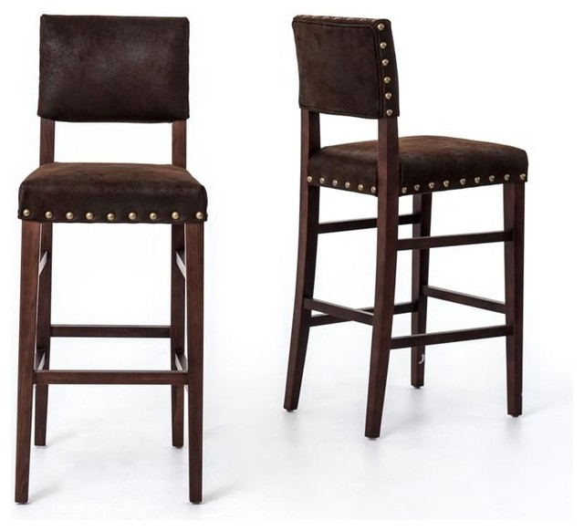Four Hands Blake Barstool Nubuck Transitional Bar Stools And Counter Stools By Seldens