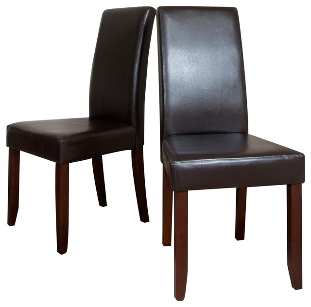 Dining Chairs Set Brown Faux Leather Modern Style Walnut: Acadian 2 Pack Brown Faux Leather Parson Chair
