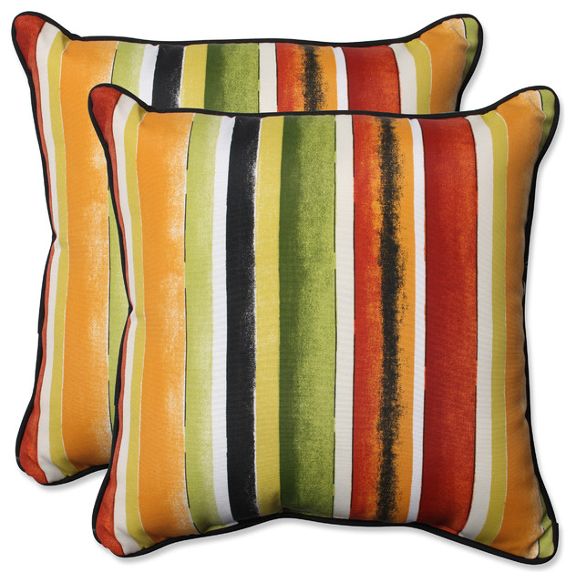 Modern swing arm curtain rod - Dina Striped Throw Pillows Red And Green Set Of 2
