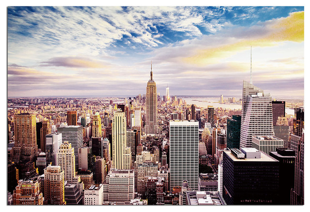 tempered glass wall art new york skyline world trade center 1 traditional prints and. Black Bedroom Furniture Sets. Home Design Ideas