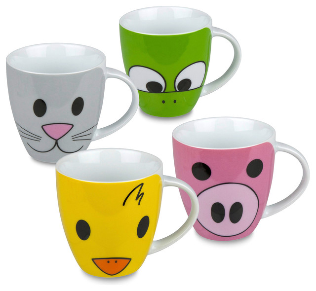 Set Of 4 Mugs Zoo Pig Duck Frog amp Cat Traditional