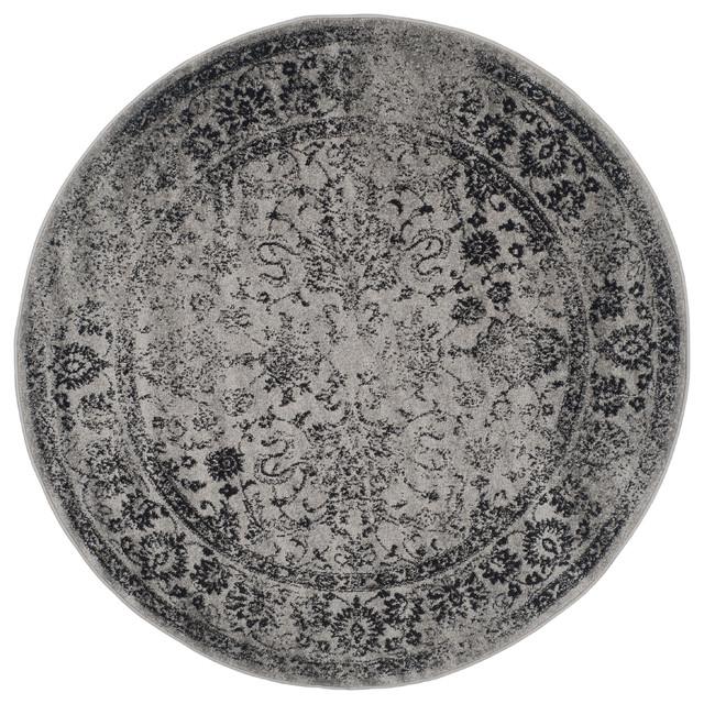 Harrison Rug, Grey / Black 10' X 10' Round traditional ...