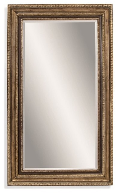 Bassett mirror wood frame antique champagne and black for Black framed floor mirror