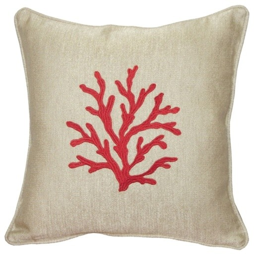 Sea Coral Throw Pillow, Red - Beach Style - Decorative Pillows - by Pillow Decor Ltd.