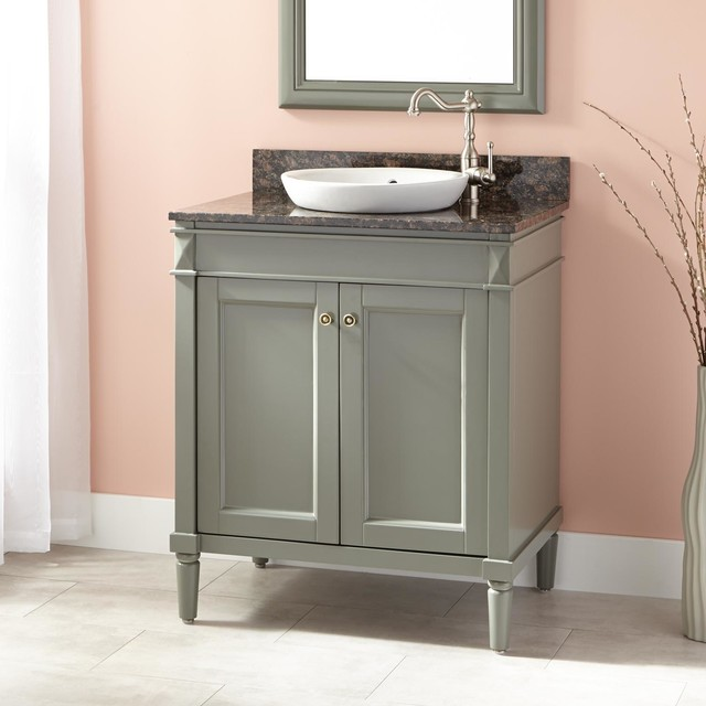30 Chapman Vanity For Semi Recessed Sink Gray Transitional Bathro