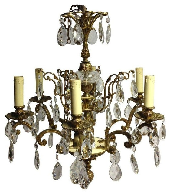Pre owned vintage brass and crystal chandelier traditional chandeliers - Traditional crystal chandeliers ...