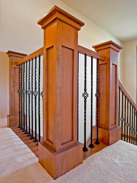 Craftsman Style Post And Rails With Wrought Iron Spindles