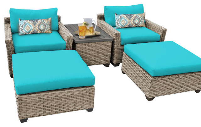 Hampton 5 Piece Outdoor Wicker Patio Furniture Blue Set 05a Cover Set Con