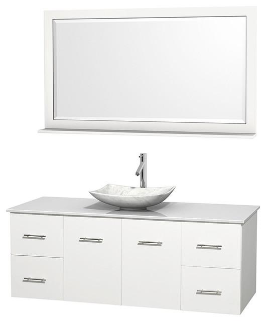 """58 Bathroom Vanity Single Sink: 60"""" Single Bathroom Vanity In White, Countertop, 58"""